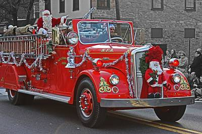Parade Float Photograph - Santa On Fire Truck by Tom Gari Gallery-Three-Photography