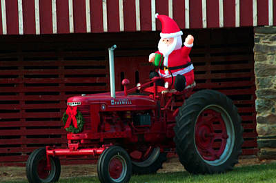 Photograph - Santa On His Tractor by Cathy Shiflett