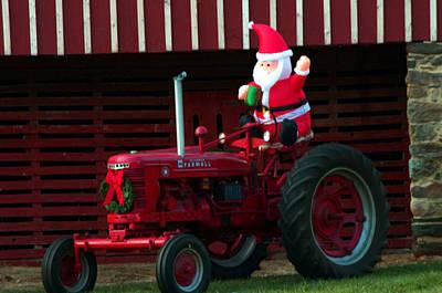 Photograph - Santa On His Tractor by Cathy Shiflett