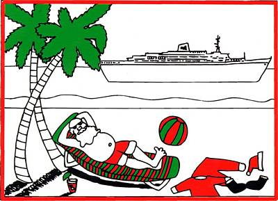 Painting - Santa On Vacation by Genevieve Esson