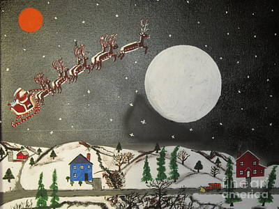 Santa Over The Moon Art Print