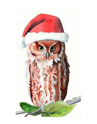 Painting - Santa Owl by LeAnne Sowa