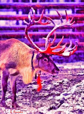 Fauna Painting - Santa Reindeer by George Rossidis