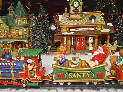 Photograph - Santa Riding A Christmas Train by Joan Reese