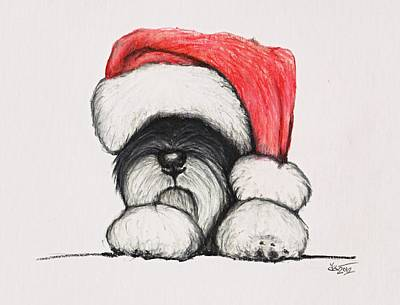 Cute Puppy Drawing - Santa Schnauzer by Katerina A Cechova