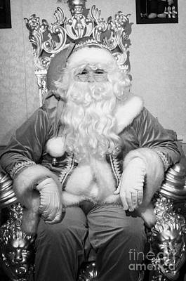 Santa Sitting On His Throne In Grotto Set Up  Art Print