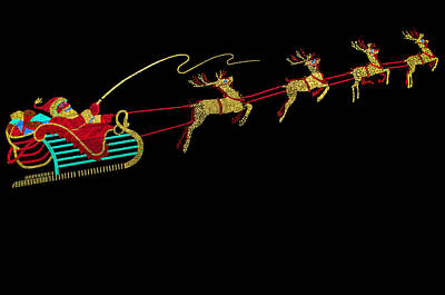 Photograph - Santa Sleigh And Reindeer by Gene Sherrill