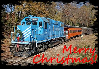 Photograph - Santa Train Greeting Cards Christmas Red Font 2 by Joseph C Hinson Photography