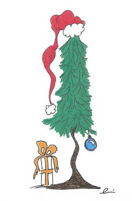 Drawing - Santa Tree by Andrea Currie