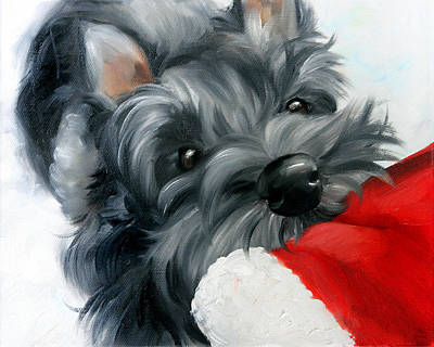 Scottish Terrier Painting - Santa Wait by Mary Sparrow