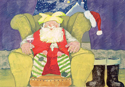 Wine-glass Painting - Santa Warming His Toes  by David Cooke