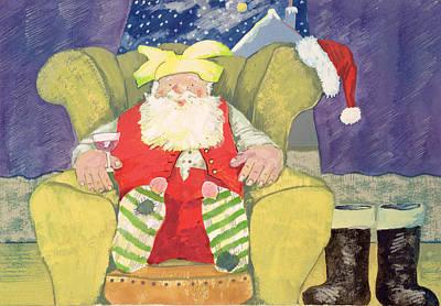 Santa Warming His Toes  Art Print