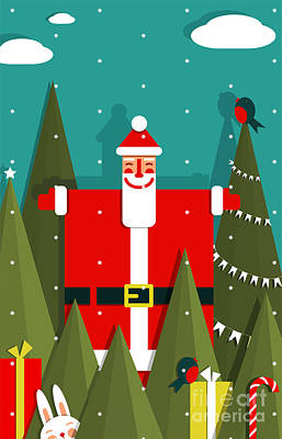 Santa Claus Wall Art - Digital Art - Santa With Gifts And Presents In Woods by Popmarleo