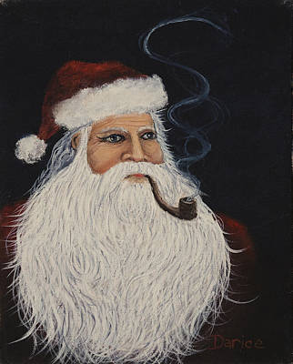 Painting - Santa With His Pipe by Darice Machel McGuire