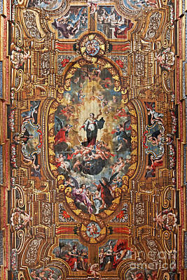 Santarem Cathedral Painted Ceiling Art Print by Jose Elias - Sofia Pereira