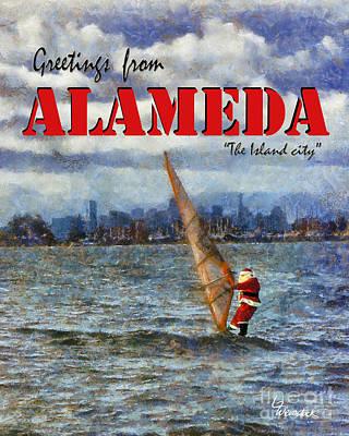 Art Print featuring the photograph Alameda Santa's Greetings by Linda Weinstock