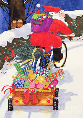 Wintry Drawing - Santas Bike by Linda Benton
