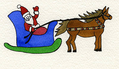 Santa's Blue Sleigh Art Print by Norma Appleton