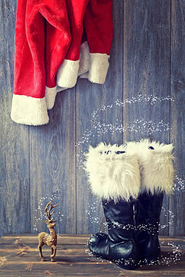 Black Jacket Photograph - Santa's Boots by Amanda Elwell
