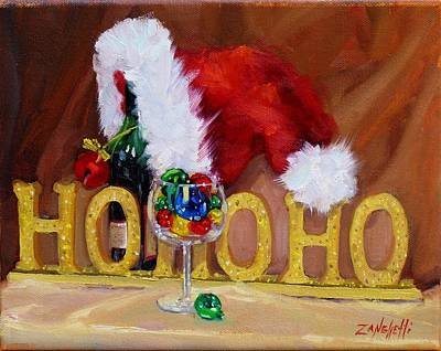 Wine Bottle Painting - Santas Cheer by Laura Lee Zanghetti
