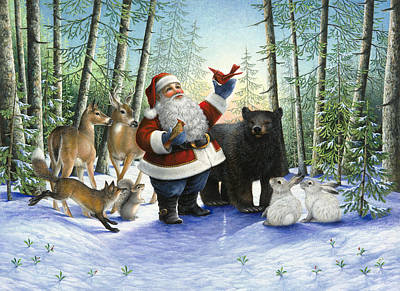 Fox Squirrel Painting - Santa's Christmas Morning by Lynn Bywaters