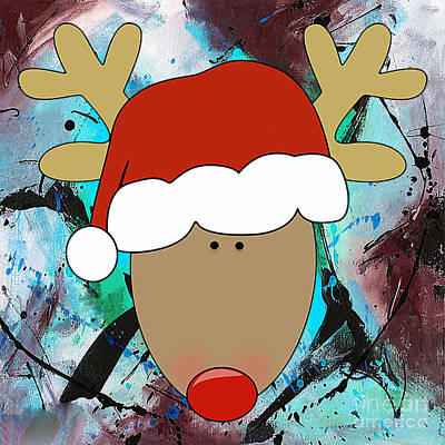 Mixed Media - Santa's Christmas Reindeer by Marvin Blaine