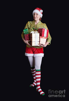 Elf Photograph - Santa's Helper Merry Christmas Elf Card by Edward Fielding