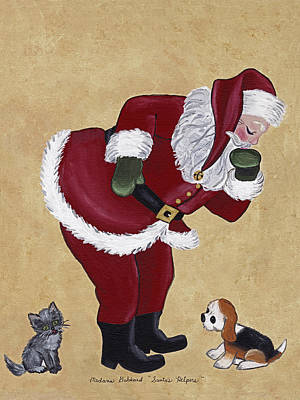 Santa Painting - Santa's Helpers by Medana Gabbard