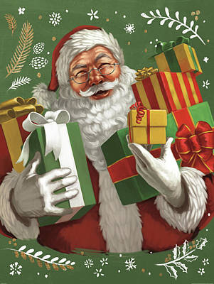 Santa Claus Painting - Santas List Iv Crop by Janelle Penner
