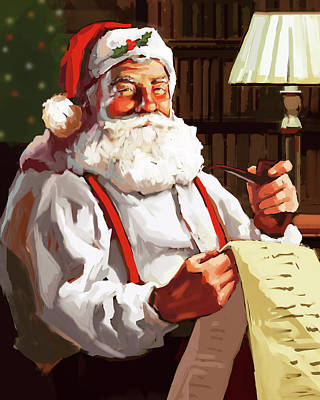 Santa Claus Painting - Santa's List by P.s