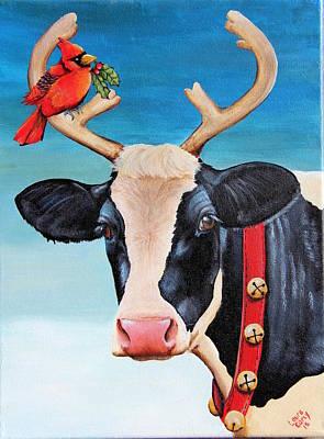Moo Moo Painting - Santa's New Helper  by Laura Carey