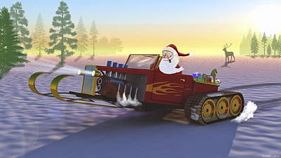 Santa's New Sleigh Art Print by Ken Morris