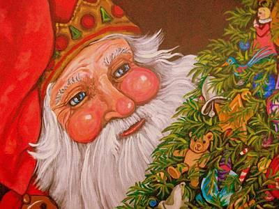 Santa Claus Painting - Santa's Tree by Sherry Dole