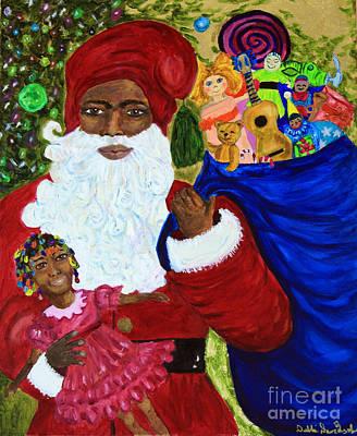 Black Clown Painting - Santa's Wish - Civil Rights Santa Claus  by Debbie Davidsohn