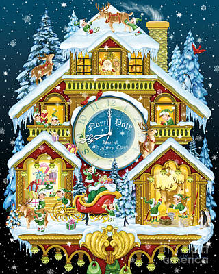 Digital Art - Santas Workshop Cuckoo Clock by Randy Wollenmann