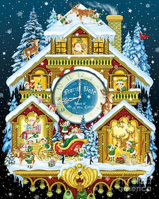 Digital Art - Santas Workshop Cuckoo Clock by Randy Wollenmann