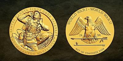 Santee Sioux Tribe Code Talkers Bronze Medal Art Art Print
