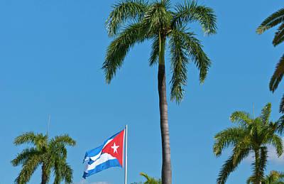 Santiago, Cuba, Cuban Flag Flying Art Print