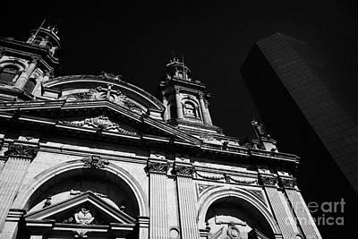 Santiago Metropolitan Cathedral Next To Modern Glass Clad Office Block Chile Art Print by Joe Fox