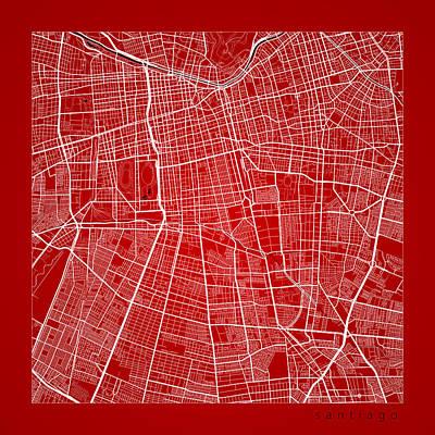 Shark Art - Santiago Street Map - Santiago Chile Road Map Art on Color by Jurq Studio