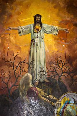 Jesus Crucifixion Photograph - Santo Domingo Church Mural Of Salvation by Al Bourassa