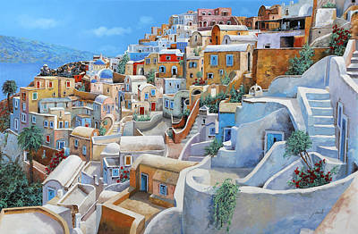 Sea Wall Art - Painting - Santorini A Colori by Guido Borelli