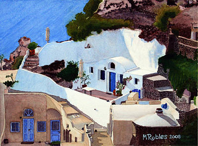 Santorini Cave Homes Art Print by Mike Robles