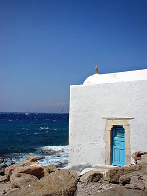 Blue Door Greece Photograph - Santorini Chapel By The Sea by Julie Palencia
