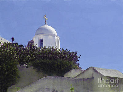 Digital Art - Santorini Church by Debra Chmelina