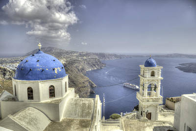 Photograph - Santorini Churches by Alex Dudley