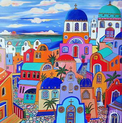 Santorini Colors Art Print by Roberto Gagliardi