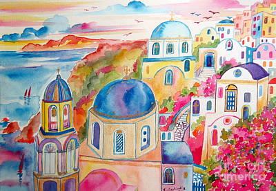 Santorini Dream Art Print by Roberto Gagliardi