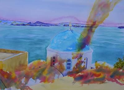 Santorini Fire Art Print by Warren Thompson