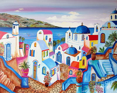 Painting - Santorini Greece by Roberto Gagliardi